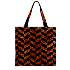 Chevron1 Black Marble & Copper Foil Zipper Grocery Tote Bag by trendistuff