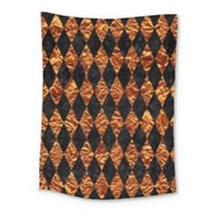 Diamond1 Black Marble & Copper Foilcopper Foil Medium Tapestry by trendistuff