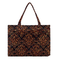 Damask1 Black Marble & Copper Foil Medium Tote Bag by trendistuff