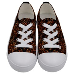 Damask1 Black Marble & Copper Foil Kids  Low Top Canvas Sneakers