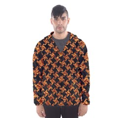 Houndstooth2 Black Marble & Copper Foil Hooded Wind Breaker (men) by trendistuff