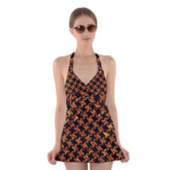 Houndstooth2 Black Marble & Copper Foil Halter Swimsuit Dress by trendistuff