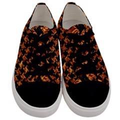 Houndstooth2 Black Marble & Copper Foil Men s Low Top Canvas Sneakers