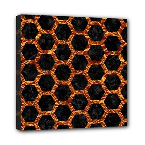 Hexagon2 Black Marble & Copper Foilmarble & Copper Foil Mini Canvas 8  X 8  by trendistuff