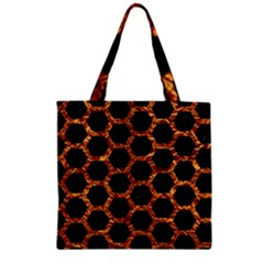Hexagon2 Black Marble & Copper Foilmarble & Copper Foil Zipper Grocery Tote Bag by trendistuff