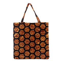 Hexagon2 Black Marble & Copper Foil (r) Grocery Tote Bag by trendistuff