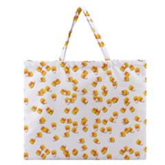 Candy Corn Zipper Large Tote Bag by Valentinaart