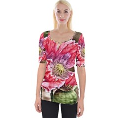 Dreamy Floral 5 Wide Neckline Tee by MoreColorsinLife