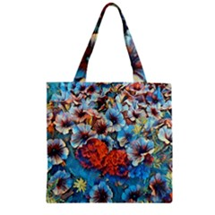 Dreamy Floral 3 Zipper Grocery Tote Bag by MoreColorsinLife