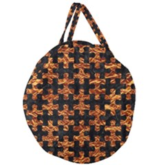 Puzzle1 Black Marble & Copper Foil Giant Round Zipper Tote