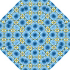 Blue Nice Daisy Flower Ang Yellow Squares Hook Handle Umbrellas (large) by MaryIllustrations