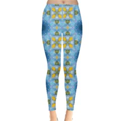Blue Nice Daisy Flower Ang Yellow Squares Leggings  by MaryIllustrations