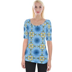 Blue Nice Daisy Flower Ang Yellow Squares Wide Neckline Tee