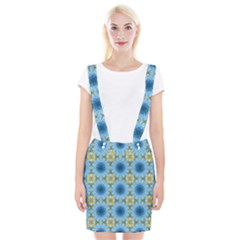 Blue Nice Daisy Flower Ang Yellow Squares Braces Suspender Skirt by MaryIllustrations