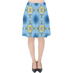 Blue Nice Daisy Flower Ang Yellow Squares Velvet High Waist Skirt by MaryIllustrations