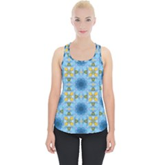 Blue Nice Daisy Flower Ang Yellow Squares Piece Up Tank Top