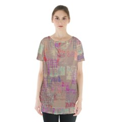 Abstract Art Skirt Hem Sports Top