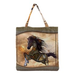 Steampunk, Wonderful Steampunk Horse With Clocks And Gears, Golden Design Grocery Tote Bag by FantasyWorld7