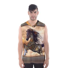 Steampunk, Wonderful Steampunk Horse With Clocks And Gears, Golden Design Men s Basketball Tank Top by FantasyWorld7