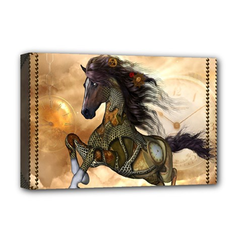 Steampunk, Wonderful Steampunk Horse With Clocks And Gears, Golden Design Deluxe Canvas 18  X 12   by FantasyWorld7