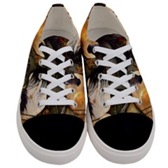Steampunk, Wonderful Steampunk Horse With Clocks And Gears, Golden Design Women s Low Top Canvas Sneakers