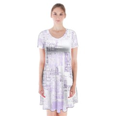 Abstract Art Short Sleeve V Neck Flare Dress