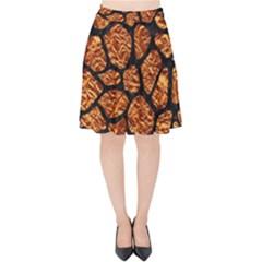Skin1 Black Marble & Copper Foil Velvet High Waist Skirt by trendistuff