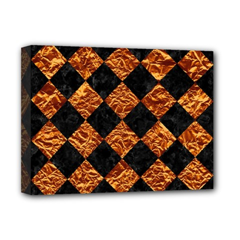 Square2 Black Marble & Copper Foilsquare2 Black Marble & Copper Foil Deluxe Canvas 16  X 12   by trendistuff