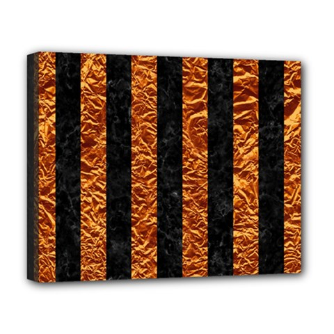 Stripes1 Black Marble & Copper Foil Deluxe Canvas 20  X 16   by trendistuff