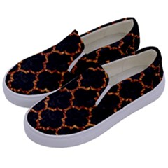Tile1 Black Marble & Copper Foil Kids  Canvas Slip Ons by trendistuff