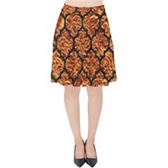Tile1 Black Marble & Copper Foil (r) Velvet High Waist Skirt by trendistuff