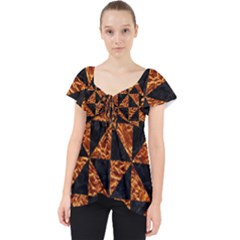 Triangle1 Black Marble & Copper Foil Lace Front Dolly Top