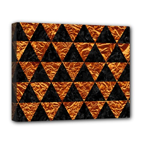 Triangle3 Black Marble & Copper Foil Deluxe Canvas 20  X 16   by trendistuff