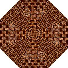 Woven1 Black Marble & Copper Foil (r) Hook Handle Umbrellas (large) by trendistuff