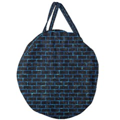 Brick1 Black Marble & Deep Blue Water Giant Round Zipper Tote by trendistuff