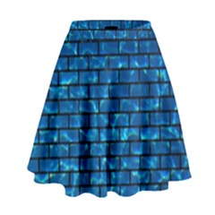 Brick1 Black Marble & Deep Blue Water (r) High Waist Skirt by trendistuff