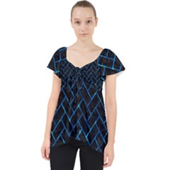 Brick2 Black Marble & Deep Blue Water Lace Front Dolly Top by trendistuff