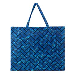 Brick2 Black Marble & Deep Blue Water (r) Zipper Large Tote Bag by trendistuff