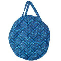Brick2 Black Marble & Deep Blue Water (r) Giant Round Zipper Tote by trendistuff