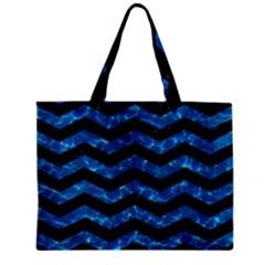 Chevron3 Black Marble & Deep Blue Water Zipper Mini Tote Bag by trendistuff