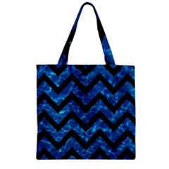 Chevron9 Black Marble & Deep Blue Water (r) Zipper Grocery Tote Bag by trendistuff