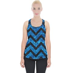 Chevron9 Black Marble & Deep Blue Water (r) Piece Up Tank Top