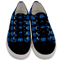 Circles1 Black Marble & Deep Blue Water Men s Low Top Canvas Sneakers