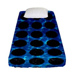 Circles1 Black Marble & Deep Blue Water (r) Fitted Sheet (single Size) by trendistuff