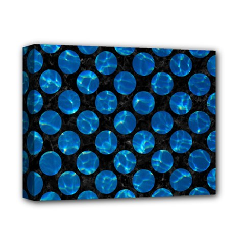 Circles2 Black Marble & Deep Blue Water Deluxe Canvas 14  X 11  by trendistuff