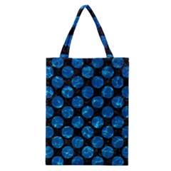 Circles2 Black Marble & Deep Blue Water Classic Tote Bag by trendistuff