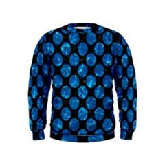 Circles2 Black Marble & Deep Blue Water Kids  Sweatshirt by trendistuff