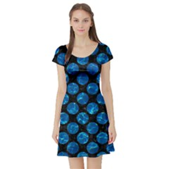 Circles2 Black Marble & Deep Blue Water Short Sleeve Skater Dress by trendistuff