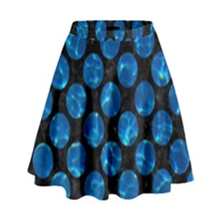 Circles2 Black Marble & Deep Blue Water High Waist Skirt by trendistuff