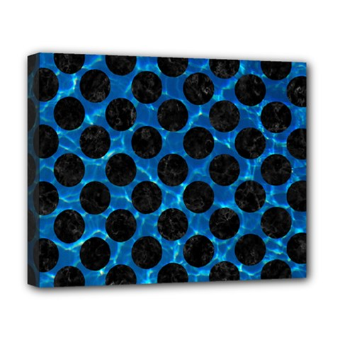 Circles2 Black Marble & Deep Blue Water (r) Deluxe Canvas 20  X 16   by trendistuff